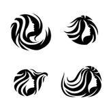 Комплект дизайна логотипа салона курорта волос красоты женщины Стоковое фото RF