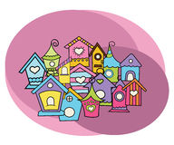 Комплект дизайна домов птицы Doodle притяжки свободной руки шаржа Стоковые Изображения