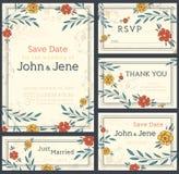 Комплект дизайна приглашения свадьбы дата сохраняет Карточка RSVP иллюстрация штока