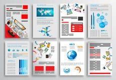 Комплект дизайна рогульки, шаблонов сети Дизайны брошюры Стоковые Фотографии RF