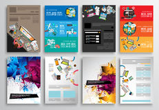 Комплект дизайна рогульки, шаблонов сети Дизайны брошюры, Infographics