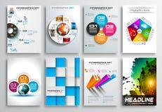 Комплект дизайна рогульки, Infographics Дизайны брошюры Стоковое Изображение RF