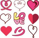 Комплект дизайна сердца влюбленности Стоковое Изображение RF