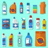 Комплект дизайна химикатов домочадца плоский Стоковая Фотография