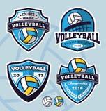 Комплект дизайна шаблона логотипа волейбола Стоковые Фото