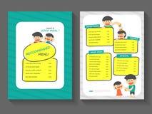 Комплект дизайна шаблона a4 плана меню завтрака еды плоский, еда с шаблоном меню еды шаржа бесплатная иллюстрация