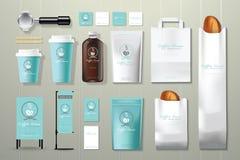 Комплект дизайна шаблона фирменного стиля кофейни Стоковая Фотография RF