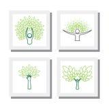 Комплект дизайнов логотипа людей и деревья - vector значки Стоковое Фото