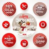 Комплект дизайнов рождества бесплатная иллюстрация