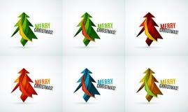 Комплект дизайнов рождественской елки геометрических иллюстрация штока