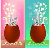 Комплект дизайнов для кролика пасхи в яичке Стоковое фото RF