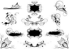 Комплект дизайнов grunge флористических Стоковое Изображение
