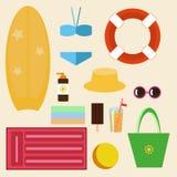 Комплект изображений вектора - аксессуары пляжа иллюстрация вектора