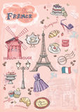Комплект изображений различных привлекательностей, Париж, Франция Стоковое фото RF