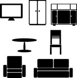 Комплект изображений черного силуэта мебели на белизне Стоковое фото RF