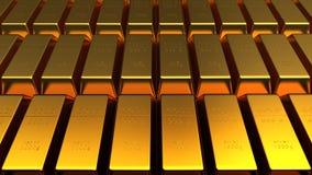 Комплект изолированного золота в слитках Стоковая Фотография RF