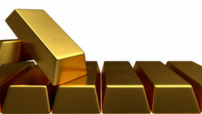 Комплект изолированного золота в слитках Стоковая Фотография