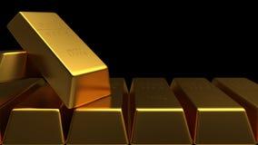 Комплект изолированного золота в слитках Стоковое фото RF