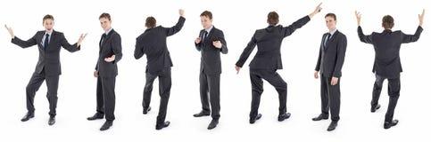 Комплект изолированного счастливого бизнесмена в костюме Стоковые Фотографии RF