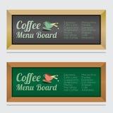 Комплект изолированной доски меню кофе Стоковые Изображения RF