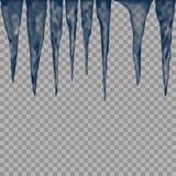 Комплект изолированной сосульки льда на прозрачной предпосылке иллюстрация штока
