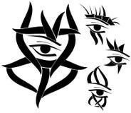 Комплект изолированной татуировки глаз в черноте Стоковая Фотография RF