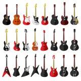 Комплект изолированных винтажных гитар Плоский дизайн Стоковые Изображения RF