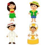 Комплект изолированных детей национальностей Гаваи и Бразилии Стоковое Фото