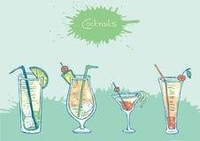 Комплект изолированных красочных коктеилей эскиза и Стоковая Фотография