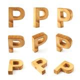 Комплект 9 изолированных писем блока деревянных Стоковое Изображение RF