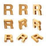 Комплект 9 изолированных писем блока деревянных Стоковые Фотографии RF
