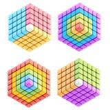 Комплект 4 изолированных составов куба Стоковое Изображение