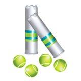 Комплект изолированных теннисных мячей и контейнеров Иллюстрация вектора