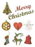 Комплект изолята украшений рождества деревянного на белизне Стоковое Изображение RF
