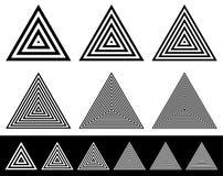 Комплект излучать формы треугольника Редкие и плотные версии с иллюстрация штока