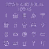 комплект иконы еды питья Стоковые Фотографии RF