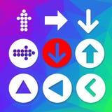 Комплект иконы знака стрелки Простая форма круга на красочной предпосылке Стоковые Фото