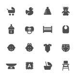 Комплект иконы младенца также вектор иллюстрации притяжки corel Стоковая Фотография