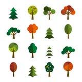 Комплект икон деревьев Иллюстрация штока