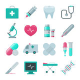 комплект икон стационара медицинский Стоковое Изображение
