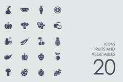 Комплект икон фруктов и овощей иллюстрация вектора