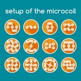 Комплект икон цвета Установка microcoil Стоковое фото RF