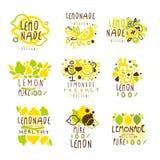 Комплект лимонада для дизайна ярлыка Красочные иллюстрации вектора иллюстрация штока
