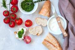 Комплект ингридиентов для bruschettas с козий сыром, соусом песто Стоковые Изображения RF