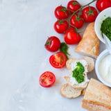 Комплект ингридиентов для bruschettas с козий сыром, соусом песто Стоковая Фотография RF