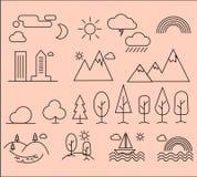 Комплект линейных значков элементов ландшафта города Стоковые Изображения