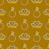 Комплект линии безшовной картины ювелирных изделий вектора Собрание диаманта роскошное красочное Силуэты кольца и diadem Самоцвет Стоковое Изображение