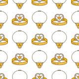 Комплект линии безшовной картины ювелирных изделий вектора Собрание диаманта роскошное красочное Силуэты кольца и ожерелья Самоцв Стоковое фото RF