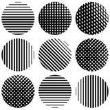 Комплект линий полутонового изображения в кругах Прямая вертикаль, горизонтальная иллюстрация штока