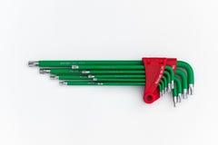 Комплект инструмента или разводного гаечного ключа набора шестиугольника Стоковые Фото